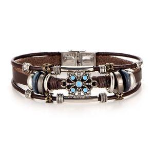 Jewelry - Vintage Boho Turquoise & Leather Wrap Bracelet